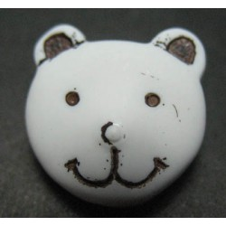 Bouton ours blanc 15mm