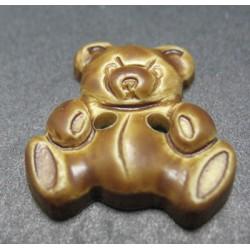 Bouton ours caramel kaki 16 mm b46