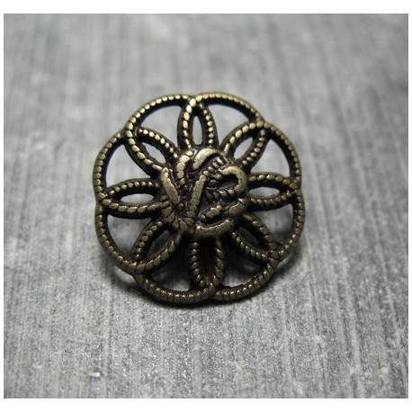 Bouton fleur vieil or 18 mm b12