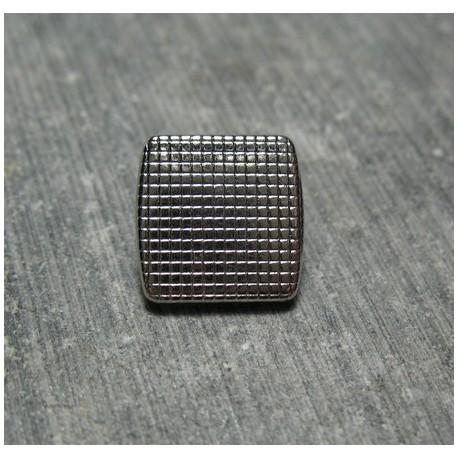 Bouton carre quadrille argent 12 mm b12