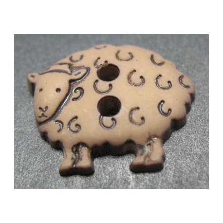Bouton mouton marron 15 mm b46