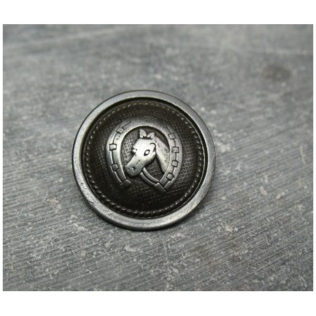 Bouton cheval vieil argent 23 mm b13