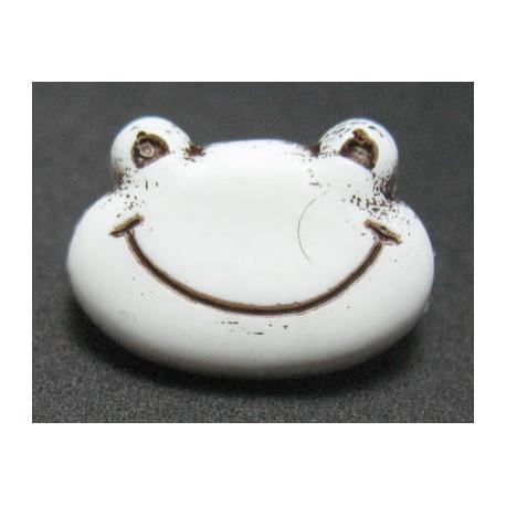Bouton grenouille blanc noir 16 mm