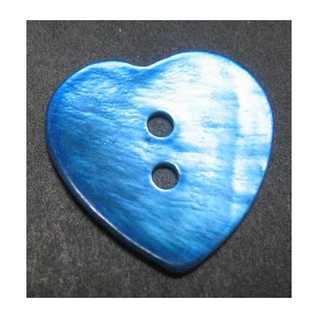 Nacre coeur bleu 20 mm
