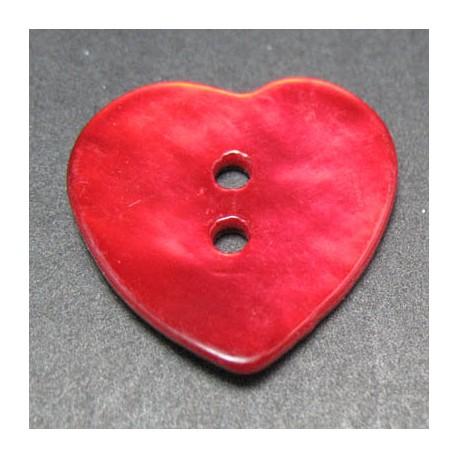 Nacre coeur rouge 20 mm