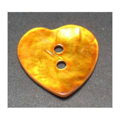 Nacre coeur orange 20 mm