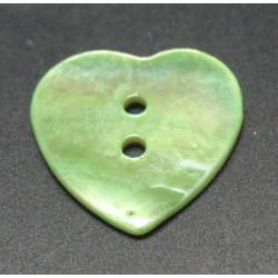 Nacre coeur vert anis 20 mm