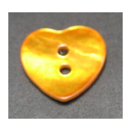 Nacre coeur orange 15 mm