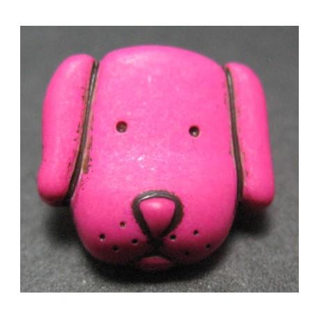 Bouton chien fuschia 14 mm b15