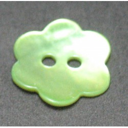 Nacre fleur vert anis 15 mm