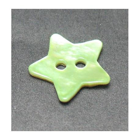 Nacre étoile vert anis 15 mm