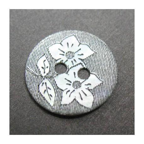 Nacre agoya gravure fleur 15 mm b20c
