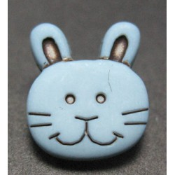 Bouton lapin gris bleu 13 mm b15