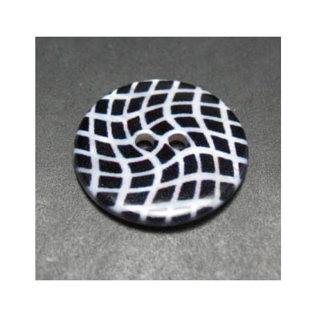 Bouton nacre rivière distorsion noir blanc 25 mm b1