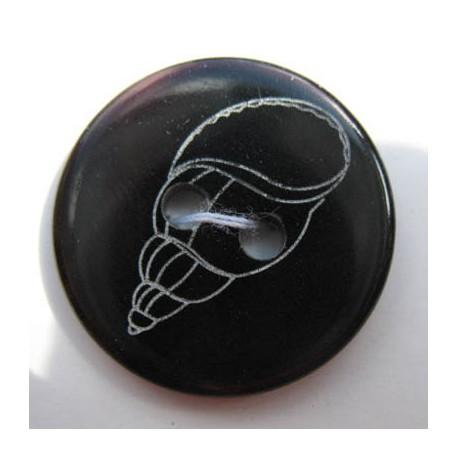 Bouton nacre rivière noir coquillage écru 20 mm  b1