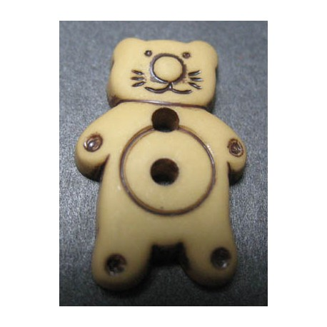 Bouton chat beige 21 mm b15
