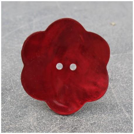 Bouton nacre fleur rouge 38 mm
