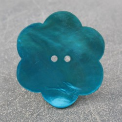 Bouton nacre fleur turquoise 38 mm