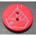Bouton voilier rouge  blanc 18  mm b4