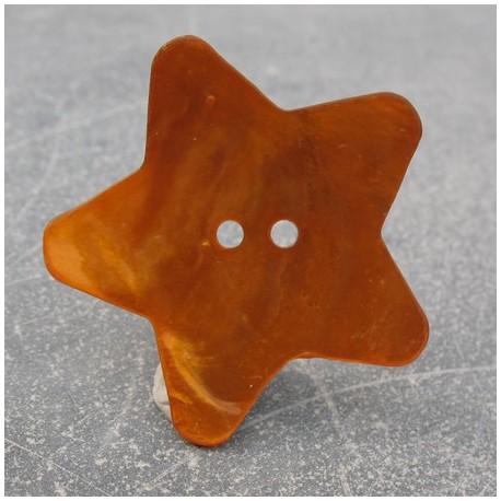 Bouton nacre étoile orange 38 mm