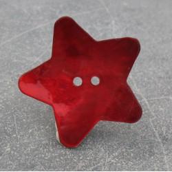 Bouton nacre étoile rouge 38 mm