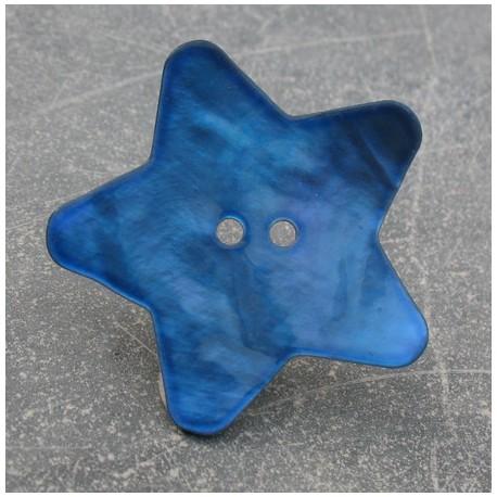 Bouton nacre étoile bleu gitane 38 mm