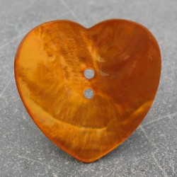 Bouton nacre coeur orange 38 mm