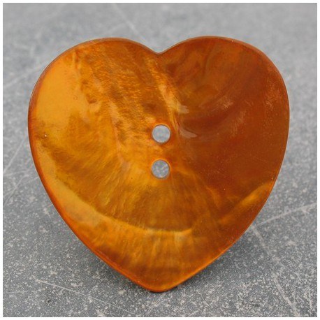 Bouton nacre coeur orange 38 mm