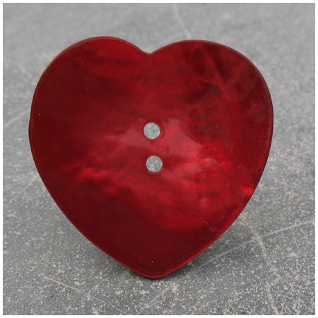 Bouton nacre coeur rouge 38 mm