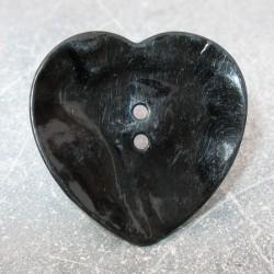 Bouton nacre coeur noir 38 mm