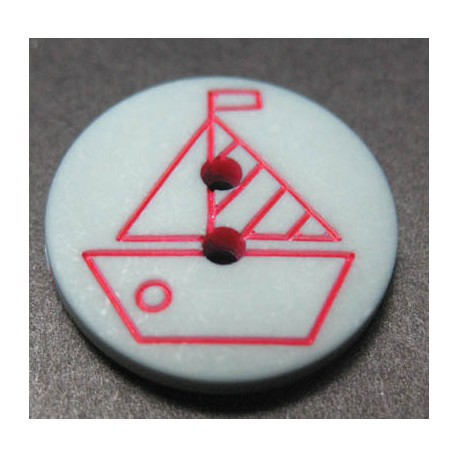 Bouton voilier gris rouge 18  mm b4
