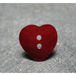 Bouton nacre coeur rouge 15 mm