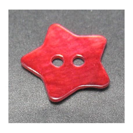 Bouton nacre etoile rouge 15 mm