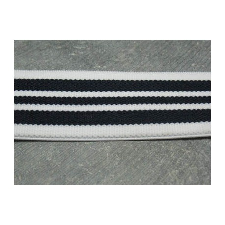 Elastique blanc marine fonçé  30 mm