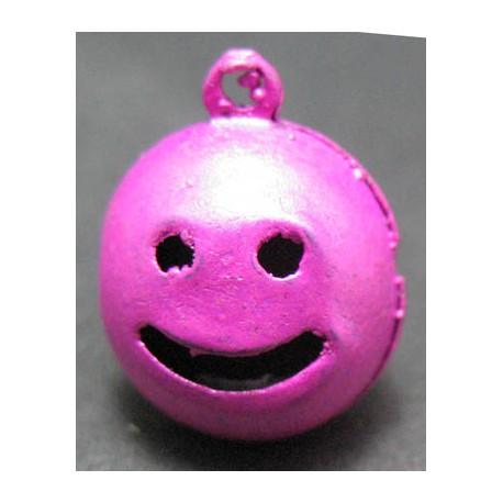 Grelot smile fuschia 15 mm