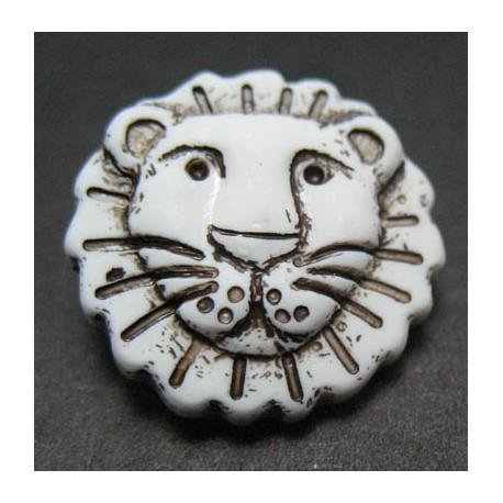 Bouton lion blanc noir 18 mm b23