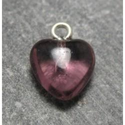 Coeur en verre prune 9 mm b16