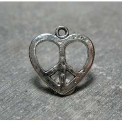 Charms coeur peace  love 18 mm