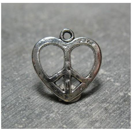 Charms coeur peace  love 18 mm