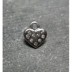 Pendentif coeur strass 10 mm