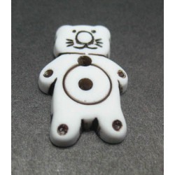 Bouton chat blanc noir 20 mm b22