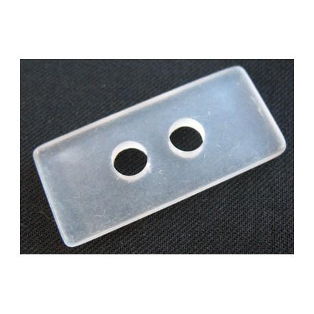 Bouton rectangle translucide dépoli 35 mm b24