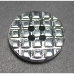 Bouton gaufre argent 18 mm b10