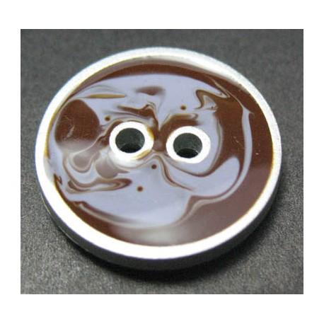Bouton aquarelle marron parme 18 mm b37