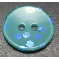 Bouton hologramme vert petrole 18 mm b54