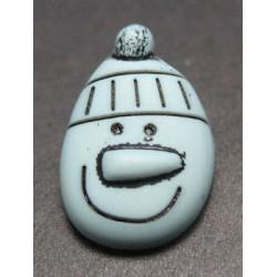 Bouton bonhomme de neige gris bleu 15mm
