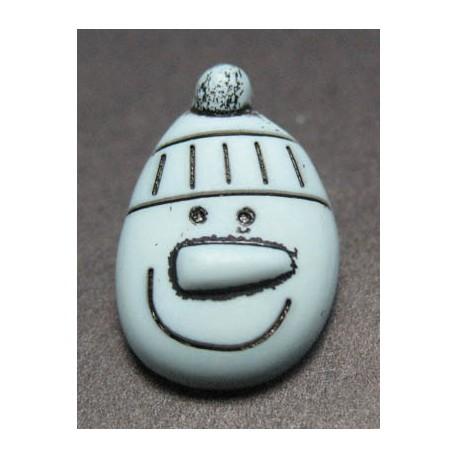 Bouton bonhomme de neige gris bleu 19 mm b21