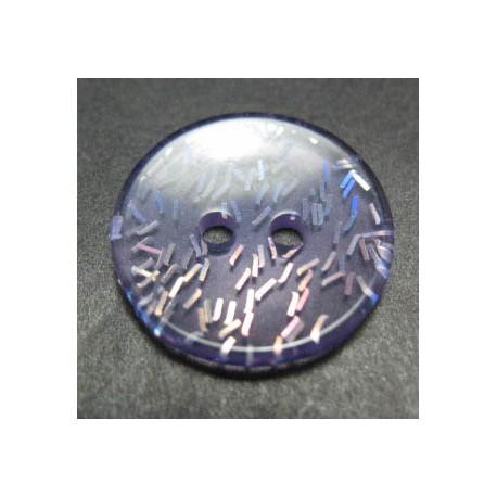 Bouton paillette  translucide violet 18 mm b50