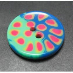 Bouton tache vert bleu 23 mm b1