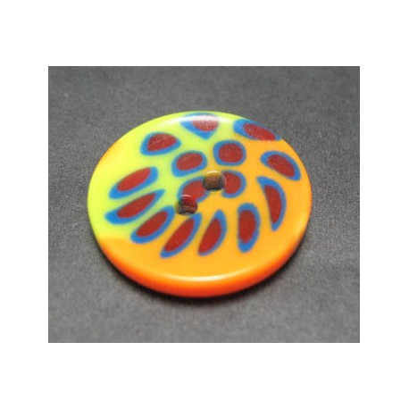 Bouton tache jaune orange 23 mm b1